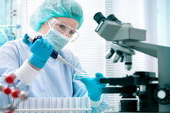 Scientist working at the laboratory. Scientist with dropper working  at the laboratory Royalty Free Stock Photos