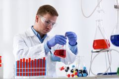 Scientist working at the laboratory. Research with dangerous chemicals Royalty Free Stock Images