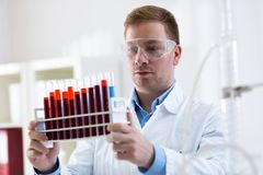 Scientist working at the laboratory. Close up Stock Images