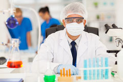 Scientist working laboratory Royalty Free Stock Images