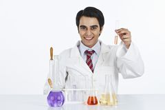 Scientist working in a laboratory and smiling Royalty Free Stock Image