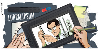 Scientist working at the laboratory. Stock illustration. People Stock Image