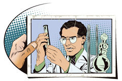 Scientist working at the laboratory. Stock illustration. People Royalty Free Stock Photo