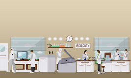 Scientist working in laboratory vector illustration. Science lab interior. Biology education concept. Royalty Free Stock Photo