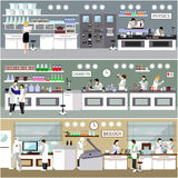 Scientist working in laboratory vector illustration. Science lab interior. Biology, Physics and Chemistry education. Concept. Male and female engineers making royalty free illustration