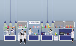 Scientist working in laboratory vector illustration. Science lab interior. Chemistry education concept. Male and female Stock Image