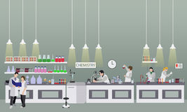 Scientist working in laboratory vector illustration. Science lab interior. Chemistry education concept. Stock Photography