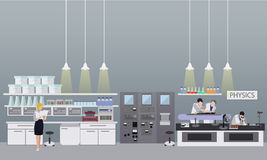 Scientist working in laboratory vector illustration. Science lab interior. Physics education concept. Stock Photography