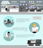 Scientist working in laboratory vector illustration. Science lab interior. Physics education concept. Royalty Free Stock Image