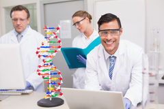 Scientist working together with laptop and computer Royalty Free Stock Images