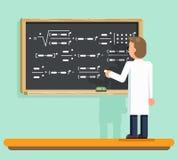 Scientist writes down mathematic formula scientific physical calculations board flat design vector illustration Stock Photo