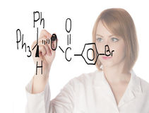 Scientist writing formula Royalty Free Stock Photo