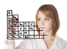 Scientist writing periodic table Royalty Free Stock Images