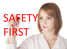 Scientist writing safety first with red Royalty Free Stock Images