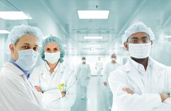 Scientists Arabic Team At Hospital Lab, Group Of Doctors Stock Image