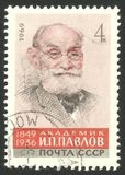 Scientists Biologists, academician Pavlov. USSR - stamp printed 1969, Memorable edition offset printing, Topic Famous People, Series Scientists Biologists, 120th Stock Photo