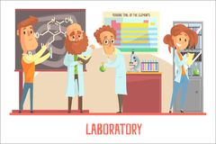 Scientists characters conducting research in a lab, interior of science laboratory stock illustration