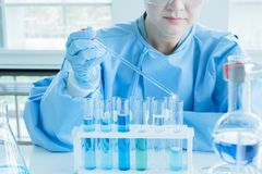 Scientists conduct research in the laboratory stock photos