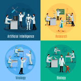 Scientists 2x2 Design Concept Set. With researchers in field of biology virology and artificial intelligence flat vector illustration Stock Photography