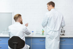 Scientists discussing analysis and working with samples in lab Royalty Free Stock Photo