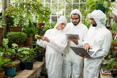 Scientists discussing over technologies at greenhouse. Scientists in clean suit discussing over technologies while examining plants at greenhouse Stock Photo