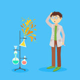 Scientists doing experiment. When something goes wrong. It can be used for error 403/500  illustration Royalty Free Stock Images