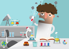 Scientists doing experiment surrounded by lab equipment. Illustration vector illustration