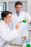 Scientists examining attentively beaker with green fluid Royalty Free Stock Image