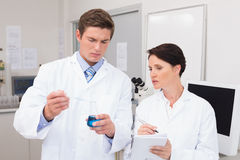 Scientists examining attentively pipette with blue fluid Stock Image