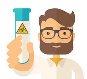 Scientists experimenting with glass tube Royalty Free Stock Photo