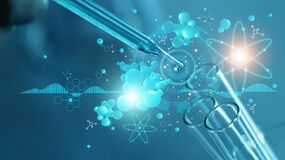 Scientists are experimenting and research with molecule model, DNA, Science background with molecules and atoms in the laboratory