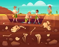 Scientists exploring fossils on excavations vector vector illustration