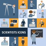 Scientists Icon Set. Scientists character icon set with mathematician explorer chemist physicist avatars isolated vector illustration Royalty Free Stock Photo