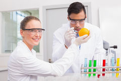 Scientists injecting orange Royalty Free Stock Photography