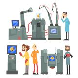 Scientists invention in robotic cybernetic engineering industry set, artificial intelligence elements vector Stock Images