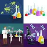 Scientists lab concept with man making research vector illustration Royalty Free Stock Images