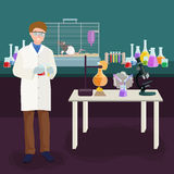 Scientists lab concept with man making research vector illustration Royalty Free Stock Photography
