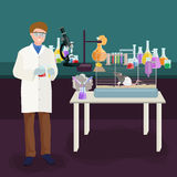 Scientists lab concept with man making research vector illustration Stock Image