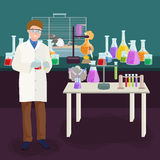 Scientists lab concept with man making research vector illustration Royalty Free Stock Image