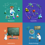 Scientists  In Lab Icons Set Royalty Free Stock Photography