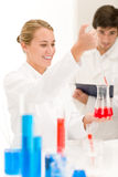 Scientists in laboratory - test vaccination Stock Images
