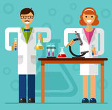 Scientists in laboratory. Vector flat style illustration of scientist smiling girl and boy in laboratory are holding flasks and making research. Chemistry Royalty Free Stock Image