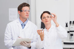Scientists looking attentively at pill. In laboratory royalty free stock photo