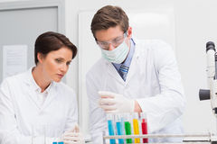 Scientists looking attentively at test tube Stock Photo