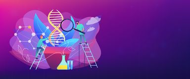 Genetically modified plants concept banner header. Scientists with magnifier looking at huge DNA in the pot. Genetically modified plants, GM crops and biotech vector illustration