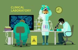 Scientists in medical laboratory doing research. There are chemistry equipment, microscope and computer on the table. Cartoon style vector illustration isolated Stock Photos