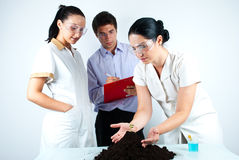 Scientists people working in laboratory. Scientist woman holding hands on soil with plant and explaining to her colleagues who listening her and taking notes.Can Royalty Free Stock Photos