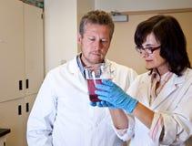 Scientists perform dissolution test. Scientists in white coats perform dissolution test Stock Images