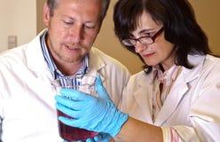Scientists perform dissolution test. Scientists in white coats perform dissolution test Stock Photos