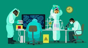 Scientists are working with bio hazardous substances Stock Photos